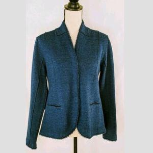 Eileen Fisher Blue Merino Wool Fitted Blazer, M
